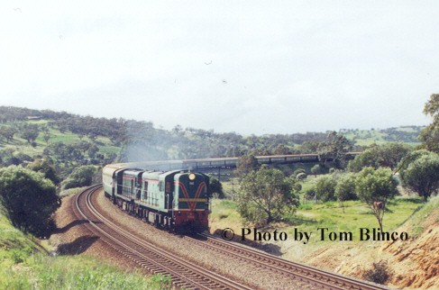 The double headed Avon Descent Train heads back down the valley out of West Toodyay yard after running around