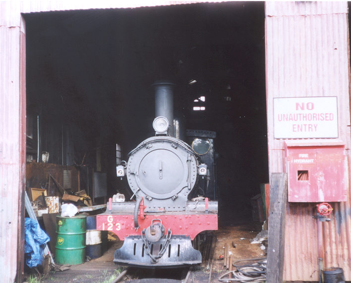 G123 inside the original Loco shed at Pinjarra 5/6/02               by N. Blinco
