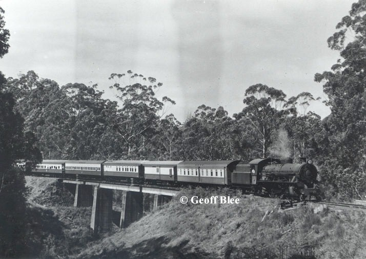 Z9 can be seen here on a Reso train to Northcliffe in 1971. This train headed by W903 which is now preserved by HVTR is seen crossing Eastbrook Bridge just south of the town of Pemberton. This Photo from the Murray Rowe Collection © Geoff Blee