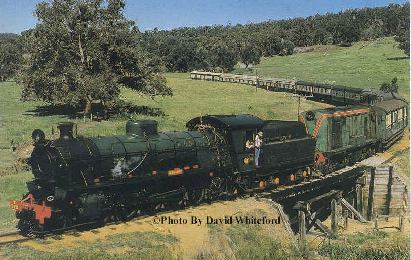 W 920 and Westrail F class diesel return from Dwellingup on the 24th October 1976                    © Photo by David Whiteford