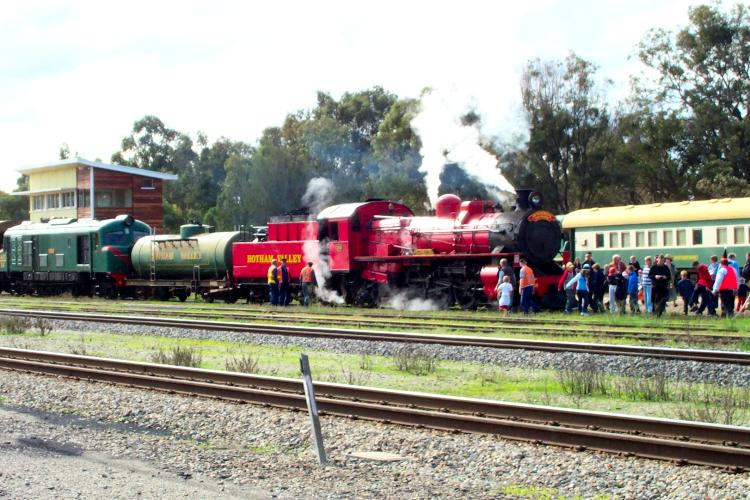 Upon arrival in Pinjarra the passengers swarm to the front of the Wizards Express to get their photo taken with this popular locomotive              © Photo by Doug Bell