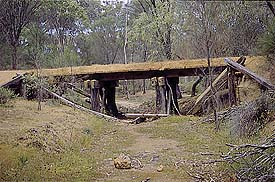 Remains of trestle bridge near  Congelin on 14mile brook